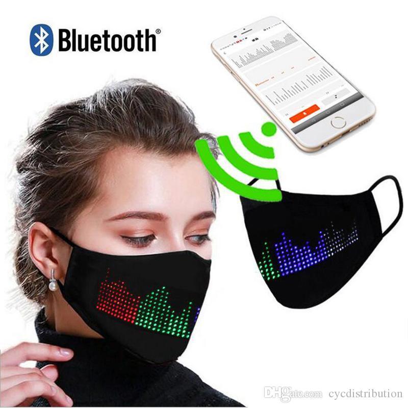 قناع بلوتوث برمجة متوهجة مع PM2.5 تصفية أقنعة الوجه LED لمهرجان حفلة عيد الميلاد السنة الجديدة تضيء قناع