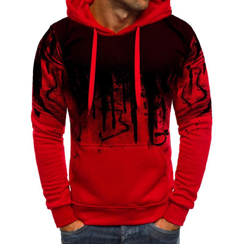 Erkekler Kapşonlu Triko Casual Sonbahar Kış Baskılı Sweatershirt Moda Kazak Yeni Stil Sıcak Satış M-3XL Uzun kollu