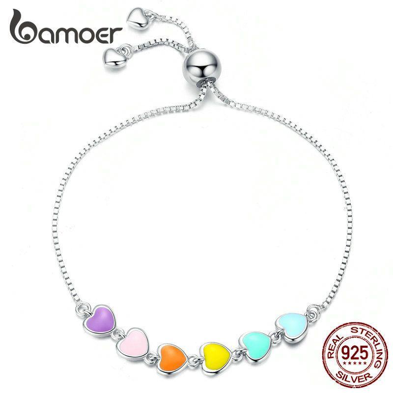 BamOer Rainbow Color Esmalte Corazón Pulsera para mujer Forma de corazón 925 Pulsera de cadena de plata esterlina Joyas anti-allergy SCB158 CX200612