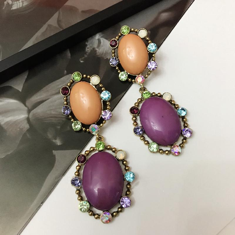 Mengjiqiao coreano vintage moda redondo oco colorido cristal brincos para mulheres pendientes menina feriado jewerly presentes