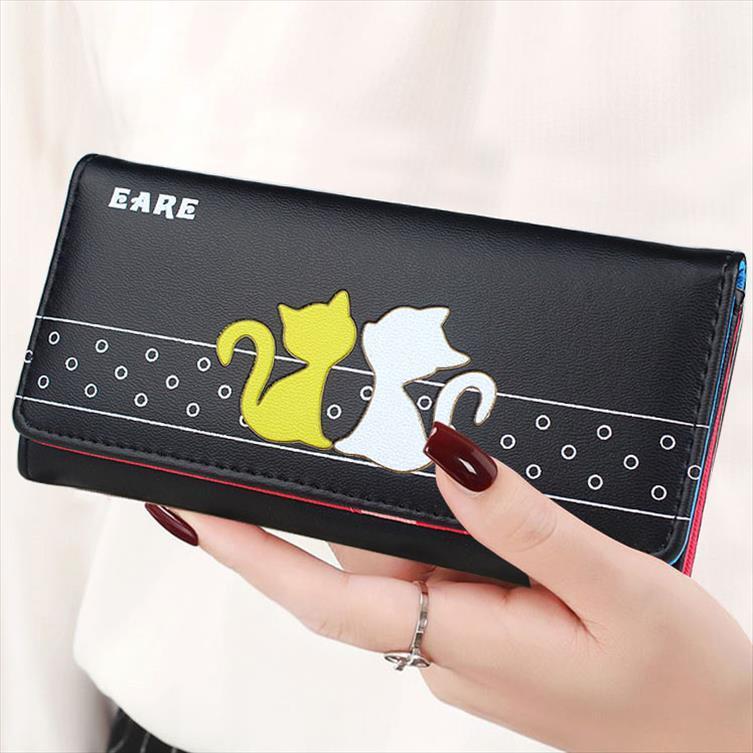 Lady Borse modello Cat Donne Carte raccoglitori del supporto Fold frizione busta Money Bags Long Short Portafoglio Donna Ragazze Coin Purse Bag