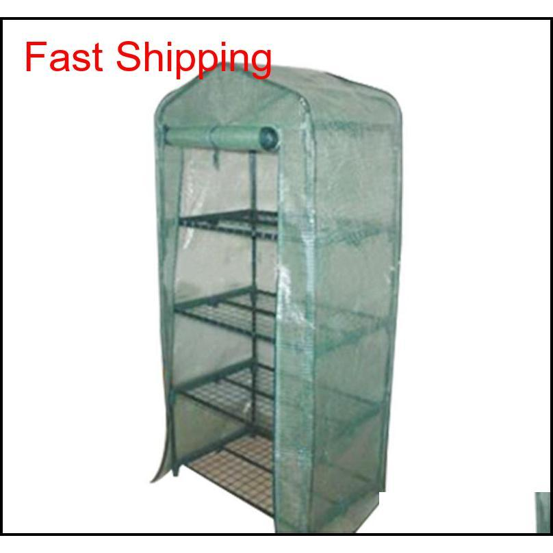 Garden Greenhouses 4 Shelves Green House Foldable Iron Tube With Pe Mesh Cloth Cover Greenhouse Portable Mini qylhFh packing2010
