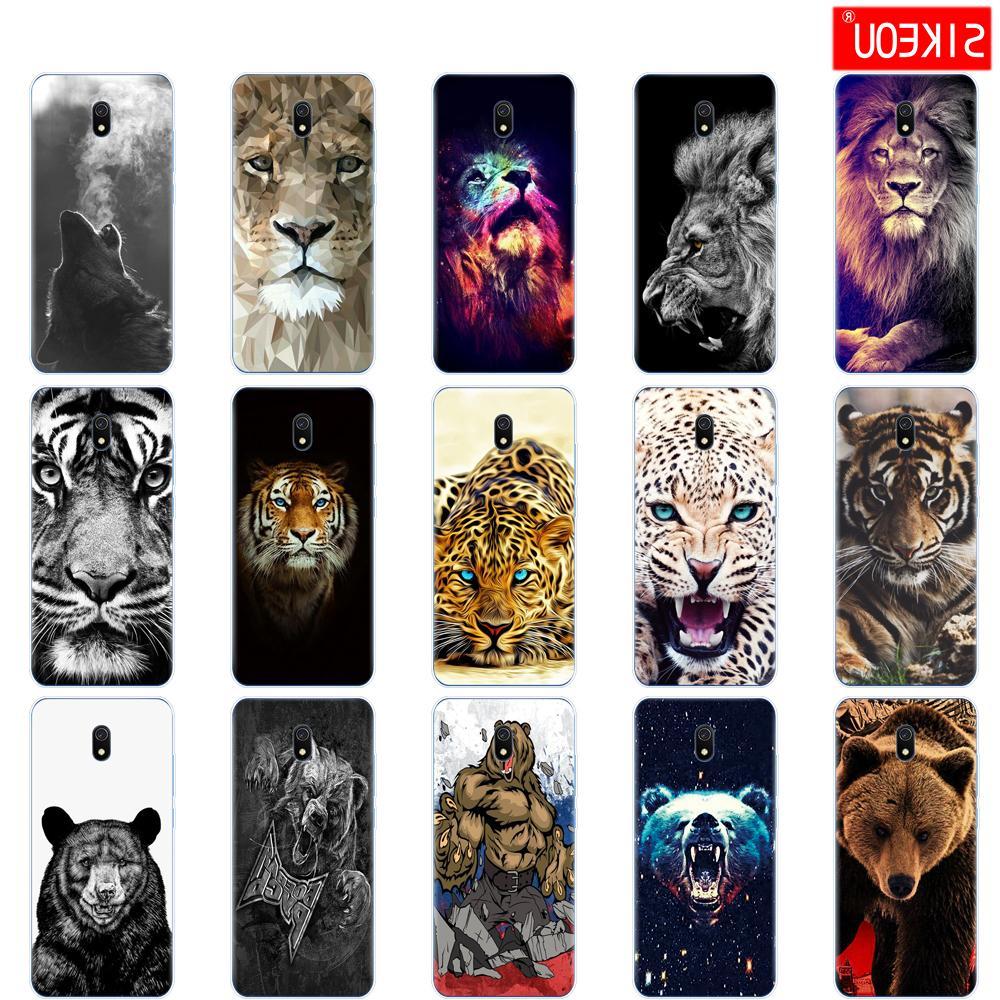 caixa do silicone para Xiaomi redmi casos suave cobertura TPU amortecedor traseiro hongmi telefone 8a urso saco shell coque lobo tigre leão Leopard