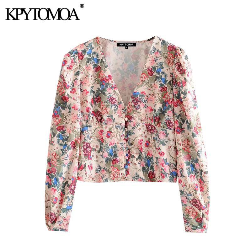 KPYTOMOA Женщины 2020 Мода Флористические Распечатывающие Блузки Винтажные V Vintage VELE Длинные Рукавы Женские Рубашки Bluss Chic Tops T200813