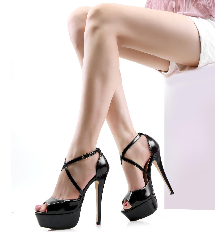 LOSLANDIFEN Women Samdals 14CM Platform High Heels Sexy Ankle Strap Open Toe Sandals Party Dress Women Shoes Plus Size 42