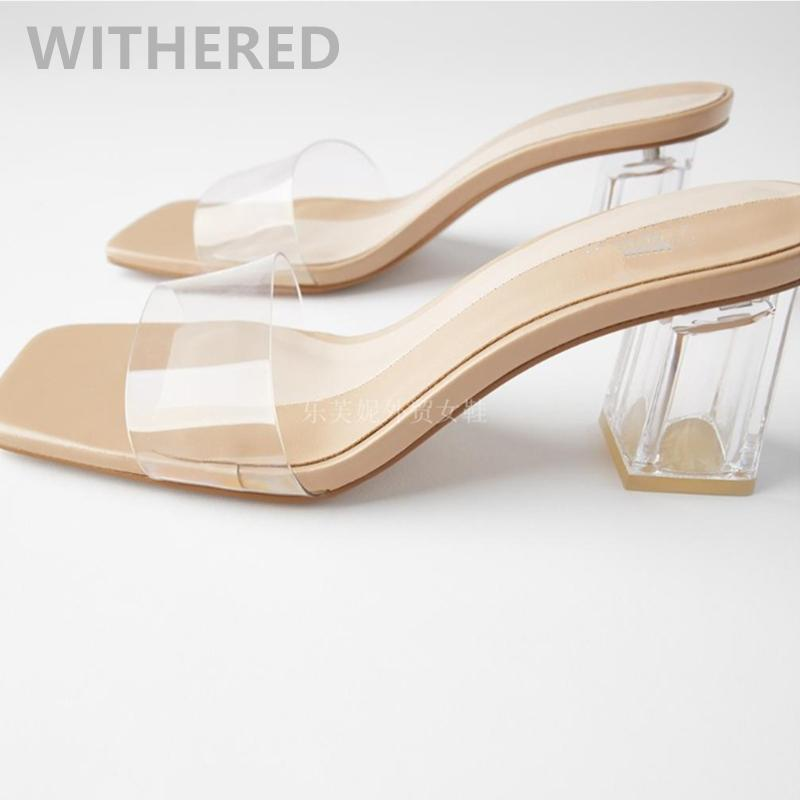 Платье обувь навязанные 2021 летние летом блоггер Англия прозрачные простые мулы каблуки тапочки женщины женщина