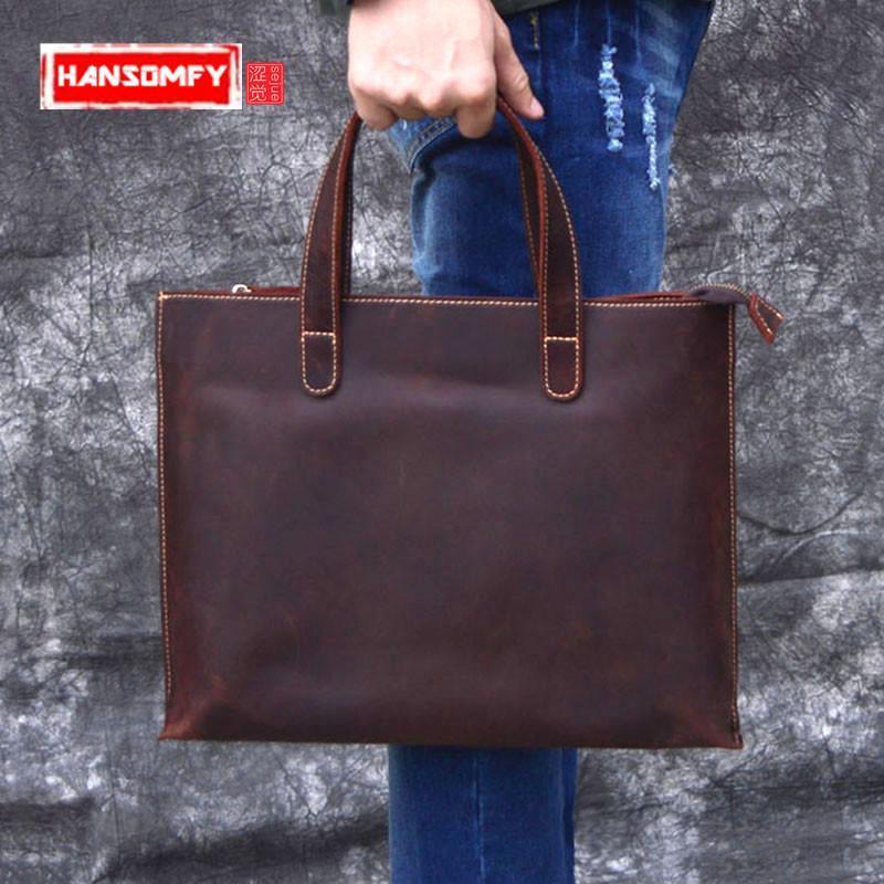 Briefcaglia maschile da uomo Borse a tracolla Messenger Brown Leather Laptop Crossbody Bag Borse da ufficio Vintage 2021 Crazy Horse Pelle