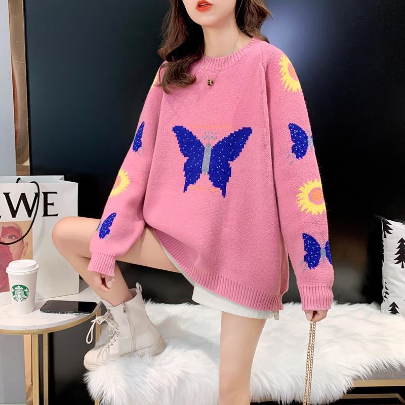Suéteres de mujer invierno estilo perezoso estilo redondo mujer tamaño grande manga larga out desgaste cálido tops suelto corbata mariposa impresión suéter de punto