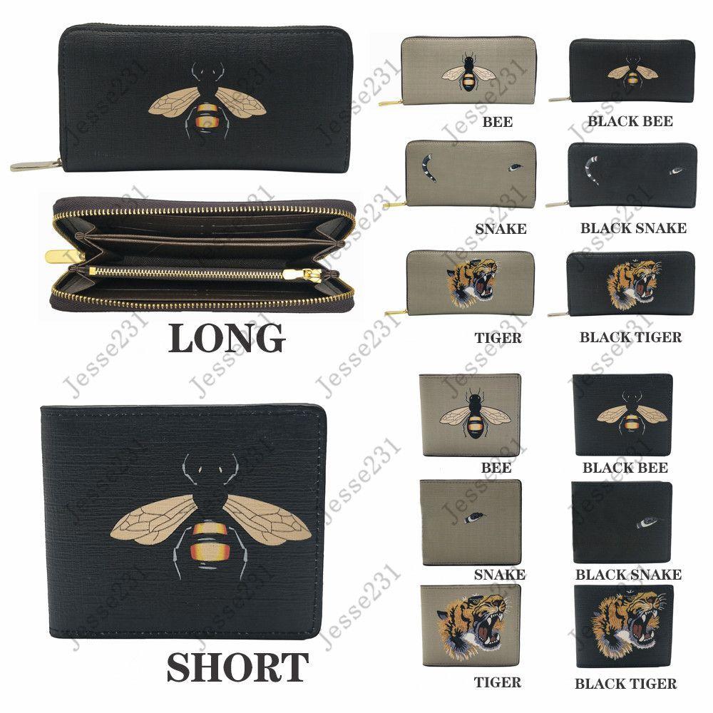 Hohe Qualität Männer Tier Kurzwallet Leder Schwarz Schlange Tiger Biene Brieftaschen Frauen Lange Stil Geldbörse Brieftasche Kartenhalter mit Geschenkbox