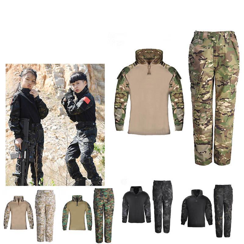 Pantaloni da camicia di tiro del bosco Pantaloni Set di Battle Dress Uniform Tactical BDU Set Combattimento Bambini Abbigliamento Camouflage Kid Child Uniform P05-022