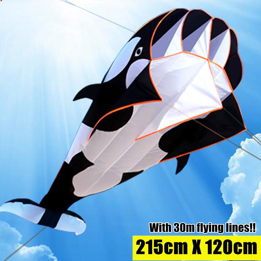 Fly Spor Uçurtma 1018 için 215cm 3D Mavi Uçurtma Açık Spor Yunuslar Uçan Uçurtma Oyuncak Huge Yunus Uçurtma Yumuşak Kolay