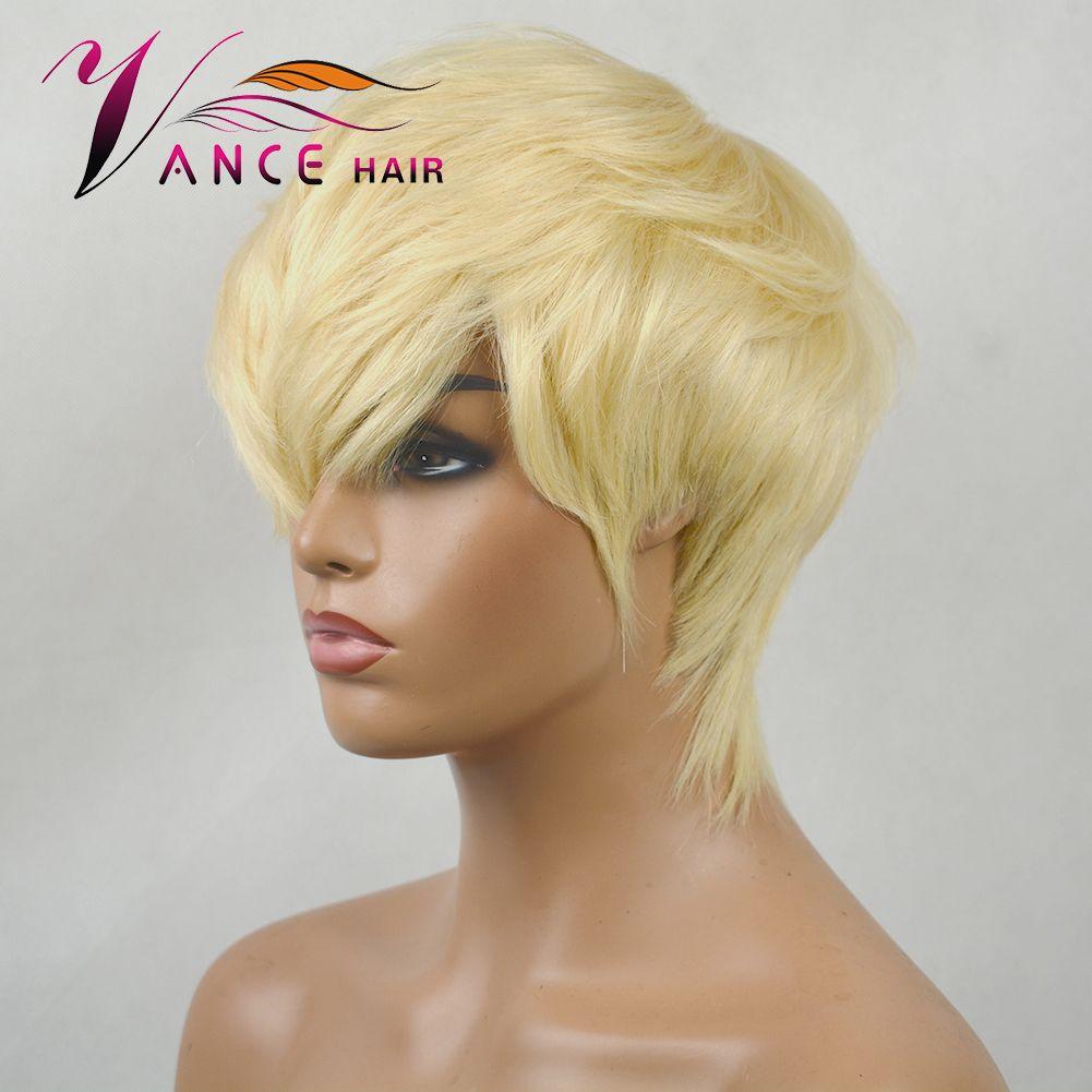 Vancehair полная машина парики человеческих волос для женщин 613 Honey Blond Pixie Cut Layered Bob париков