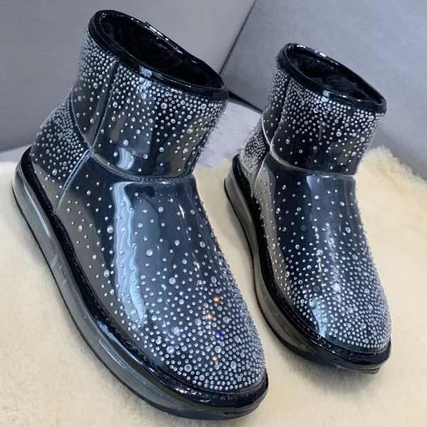Più nuovi del progettista di moda pelle di pecora diamante stivali scarpe da donna inverno lana di pecora integrati Bling Cristalli stivali 35-40 con la scatola