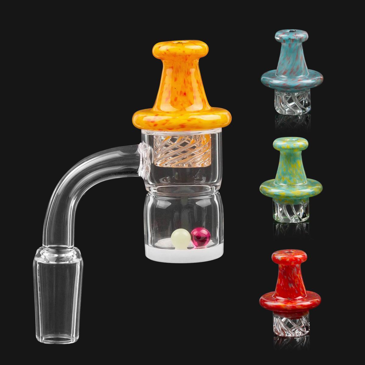 Abgeschrägte Kante Prevent Öl Spritzen Quarz Banger Nail + Spinning Carb Cap + Terp Perlen mit 10mm 14mm 18mm Männlich Weiblich Für Dab Rig Wasserrohr