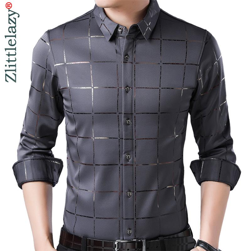 A cuadros de manga larga Slim Fit Hombres Marca del resorte ocasional de lujo camisa de vestir de Calle Social Camisas hombre forma Jersey 2309 201007