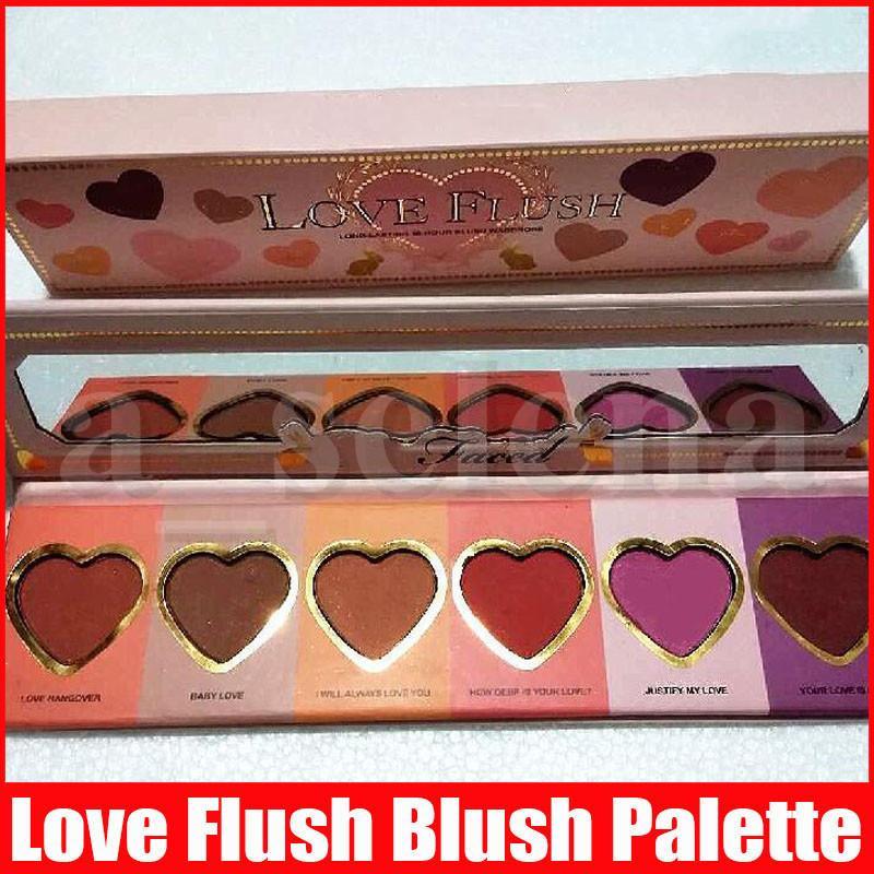 Face Makeup Love Flush Blush Wardrobe Heart Shaped Palette 6 Colors Long Lasting 16-hour Blush Pressed Powder