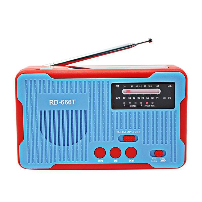 Notfunk Solar Powered AM / FM Radio-Kurbel mit Notwarnungs Energien-Bank für MP3-Wiedergabe Blau