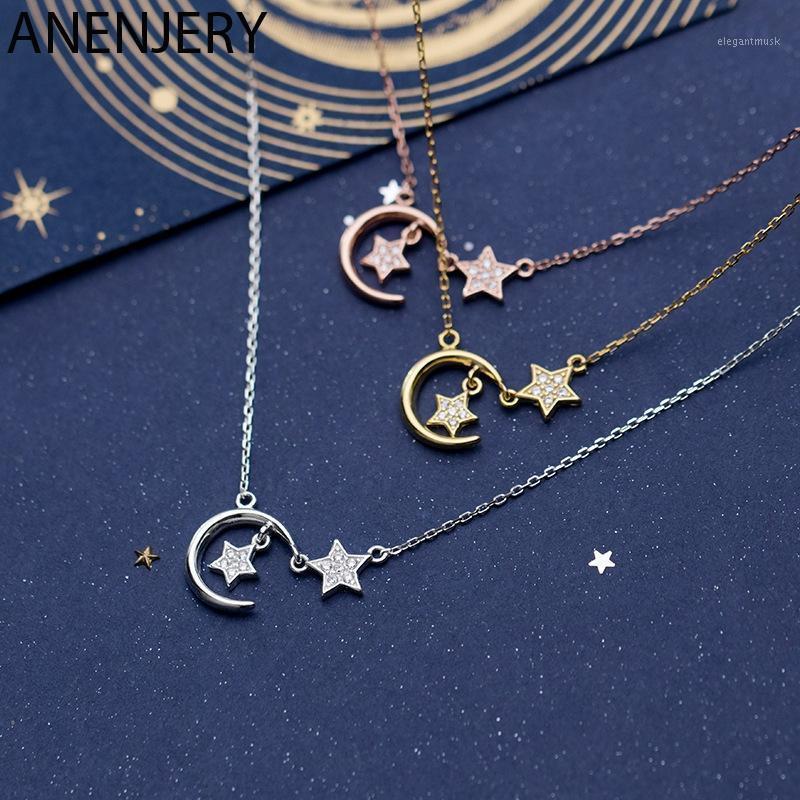 Anenjery Simple Argent Couleur Micro Cubic Ziron Star Moon Colliers pour Femmes Colliers Collaires Bijoux de mariage S-N5351