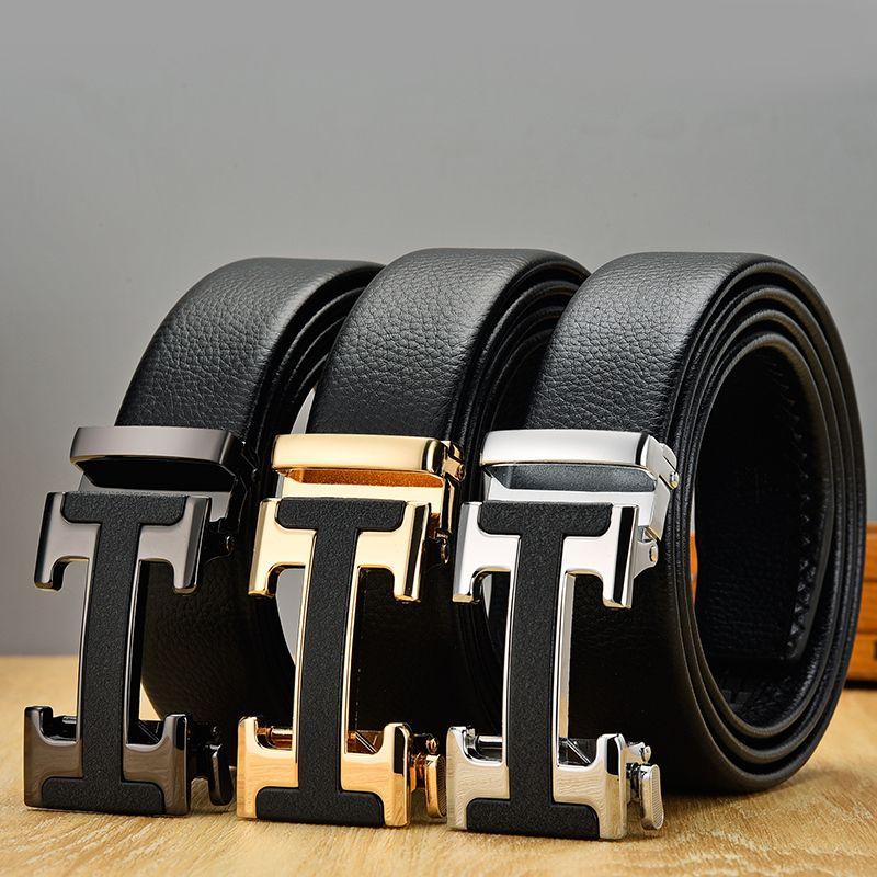 Neue Ankunft Schwarz Designer Männer Gürtel Echtes Leder Hohe Qualität Automatische Schnalle Gürtel Business Strap Gürtel Gürtel für männlich y0121