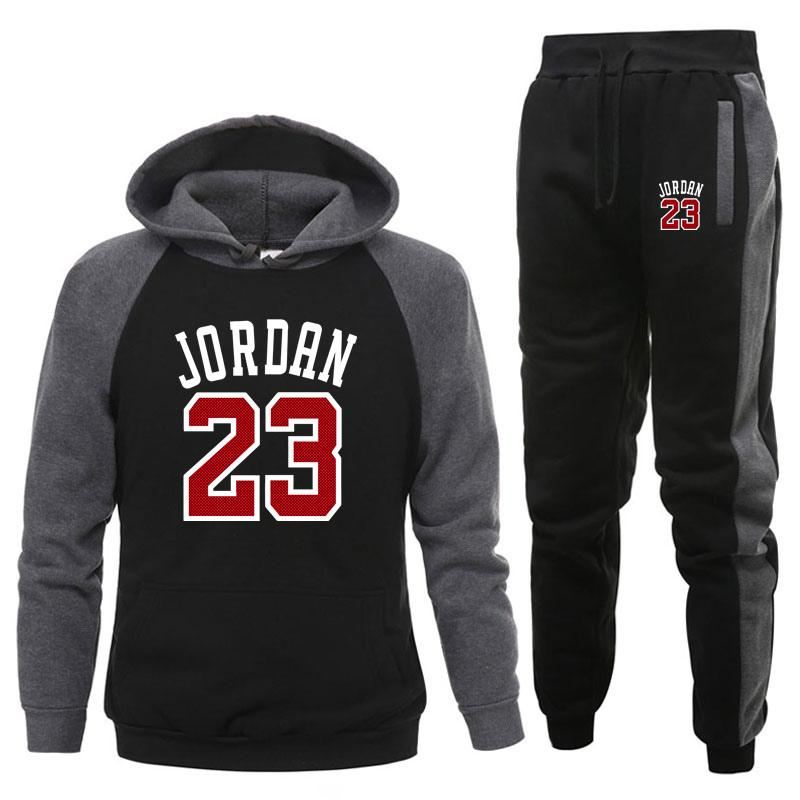Herbst und Winter New Fleece Herren Sportswear 2-teiliges Hoodie + Hosen Jogging Fitness Set Track Anzug Pullover