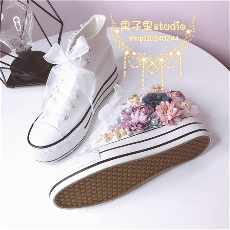 2020 nuevas flores de color coreano coloreado en lienzo zapatos de alumnos de alto nivel con soles gruesos 9nd5