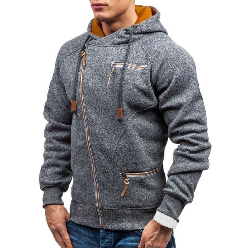 Nuovo Felpa con cappuccio 2020 molla casuale solido di colore lungo degli uomini-shirt con cappuccio Slim Zip Hooded Pullover Streetwear