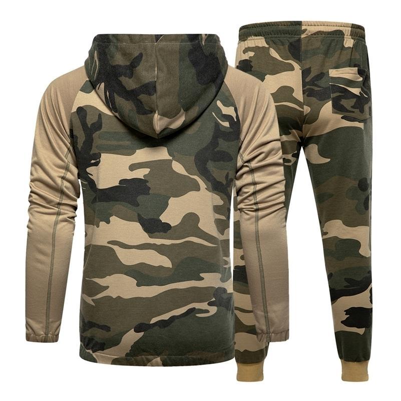 Camo Erkekler Eşofman Kapüşonlu Giyim Hoodie Set 2 Parça Sonbahar Spor Erkek Spor Kamuflaj Tişörtü Ceket + Pantolon Setleri 201204