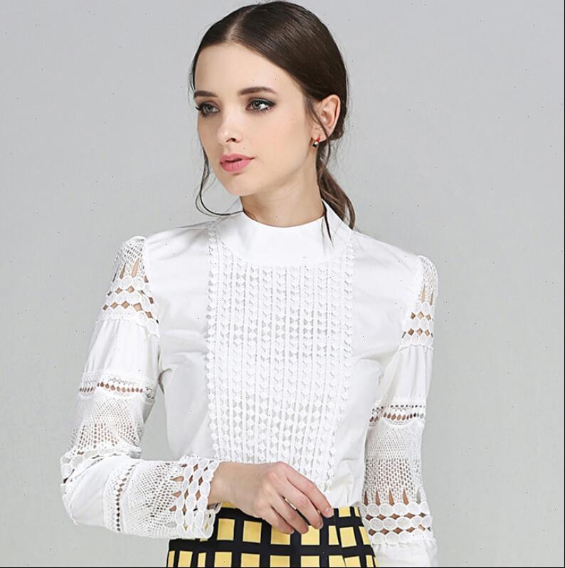 Nova Moda Mulheres Escritório Crochet Lace Blouse Camisa de manga comprida Branco Blusas Casuais Amp Camisas Plus Size Tops S 5XL