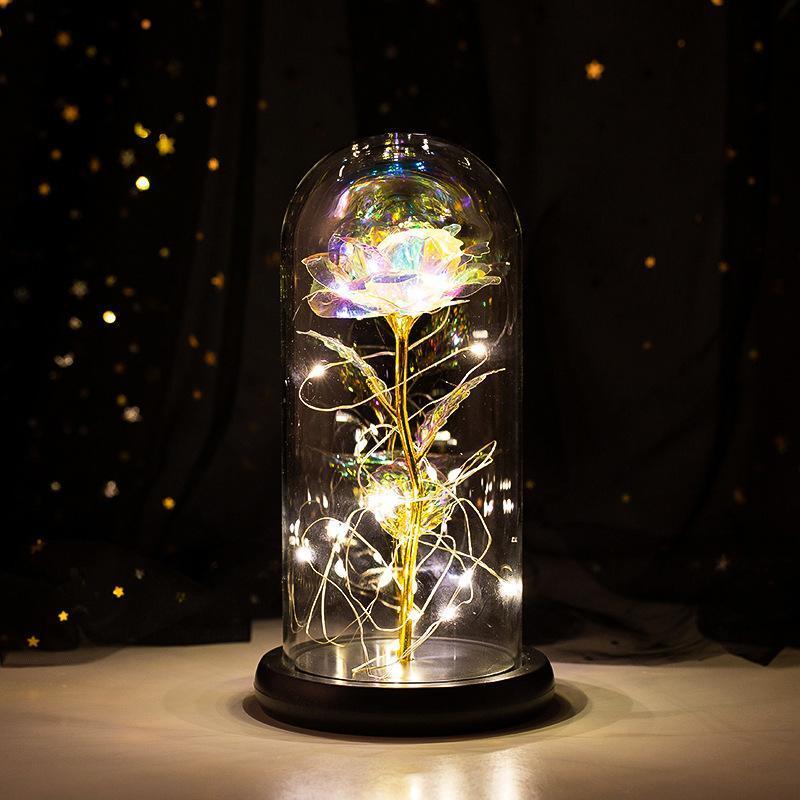 Rose Space Verzaubert für immer Rose Blume in Glas LED LED Valentinstag Weihnachten Dekoration Weihnachten Freundin Mutter Geschenk