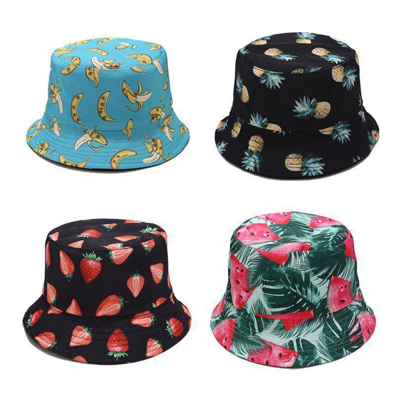 25# Women Summer Fisherman's Hat Fruit Print Two-sided Foldable Bucket Cap Outdoor Flat Sun Protection Women Decoration Hat