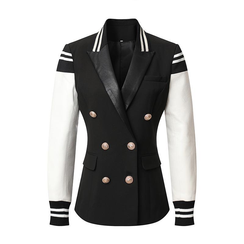 Кожаная мода новая женская повседневная пэчворк двойной погружной куртка стильный классический университет