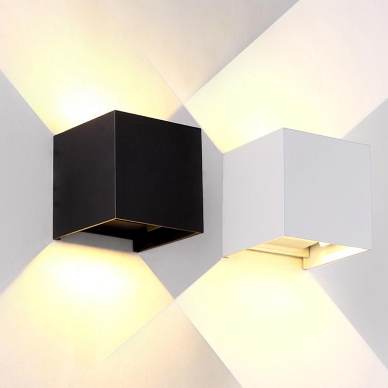 7W Plaza LED Lámparas de pared a prueba de agua para interiores y al aire libre Luz de pared Ajustable Puerto PORCHO Corredor Dormitorio Sconce