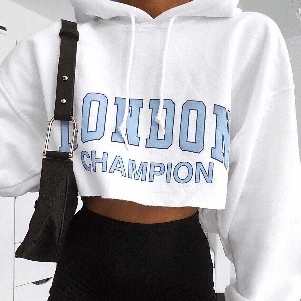 2020 новая осенние женщины письма печати с длинным рукавом с капюшоном Slim с коротким пупом 2020 новой осенние женской свитером sweaterletter печати длинного рукава ого-го