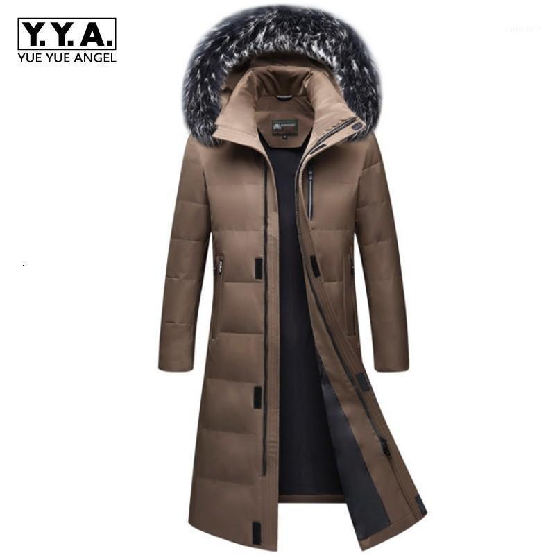 Yüksek Kaliteli Erkek Kış Parkas Uzun Moda Kalın Sıcak Boy S-6XL Kürk Yaka Aşağı Ceketler Fermuar Kapüşonlu Palto Dış Giyim1