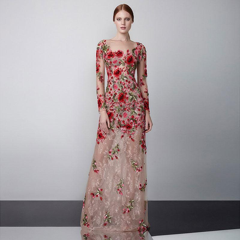 Stunning Beaded Lace Prom Dresses Sheer Bateau Neck Flower Appliqued A Line Long Sleeves Evening Gowns Floor Length Formal Dress