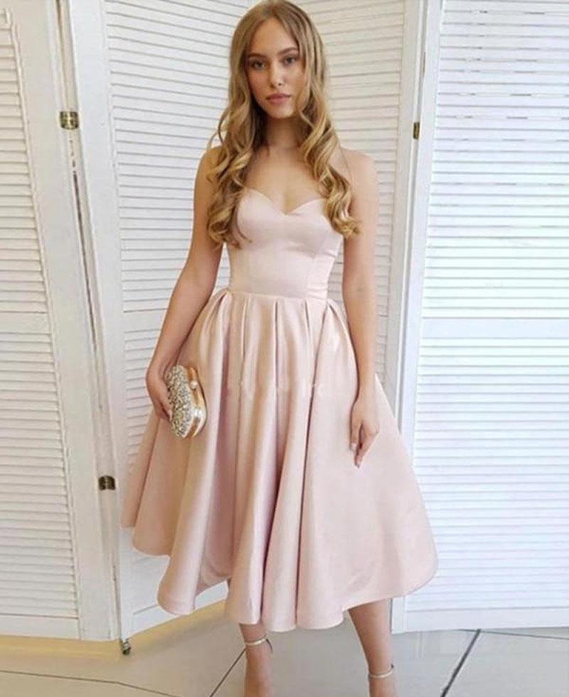 Simple de longitud de té Vestidos de novia cortos regreso al hogar del vestido de dama de cremallera de la espalda de raso una línea barato cóctel fiesta de graduación Vestidos