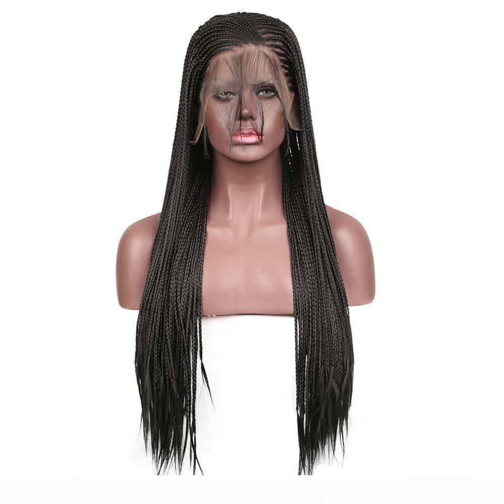 Nero Micro Trecce sintetico pizzo anteriore parrucche per donne del contenitore di calore nero intrecciato Parrucche africano 180% Densità parrucche con capelli del bambino