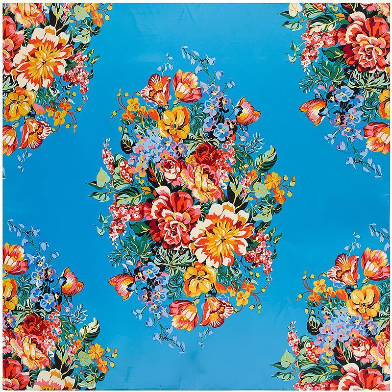 Nouvelles couleurs Fleurs Imprimé carrée Foulard en soie qualité Foulards de femmes Wraps Hijab super Grand Bandana Foulard