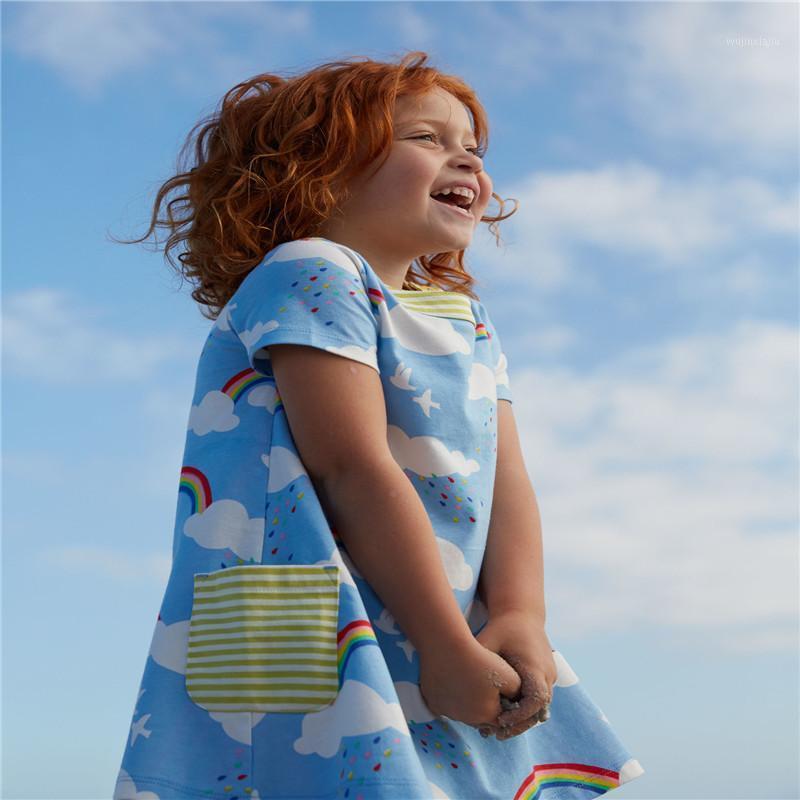 Jumping mètres bébé fille robes arc-en-ciel imprimé coton robe stylé style été chaud ventes enfants vêtements princesse robes1