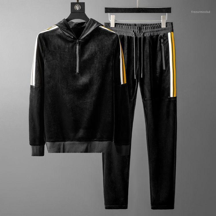 Homens conjuntos (moletom + calças) luxo outono inverno esporte veludo mac hoodies moda cintura elástica calças de homem plus tamanho 5xl1