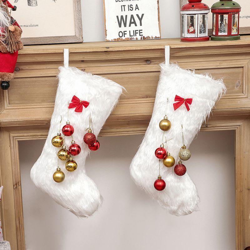 Weihnachtsstrumpf Sack Weihnachten Geschenk Süßigkeiten Tasche Weihnachtsdekorationen für Home Socke Weihnachtsbaum Dekor Dropshipping1