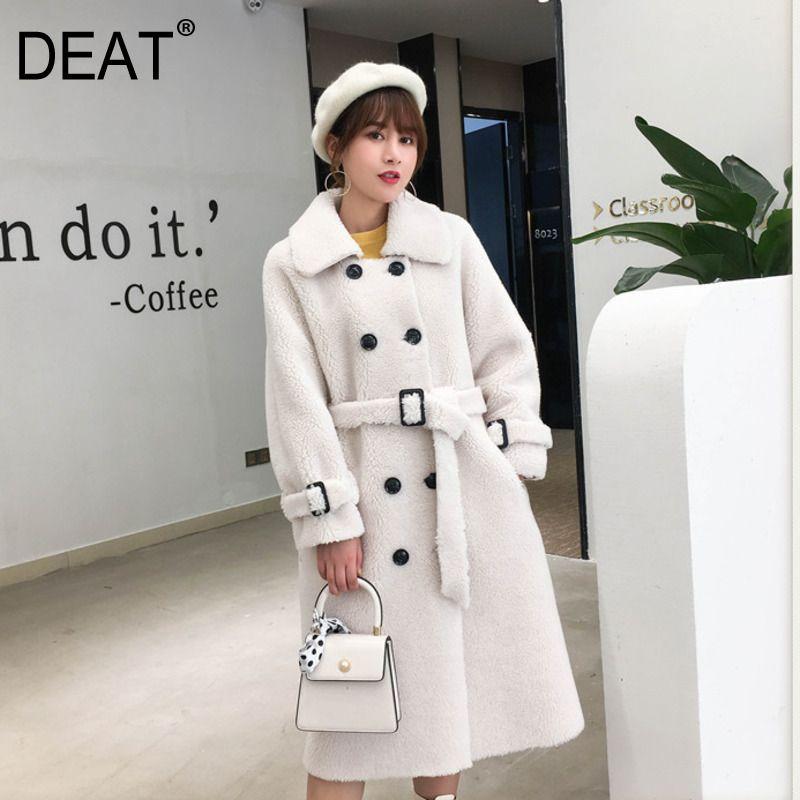 Coat [DEAT] delle donne della moda di New inverno risvolto Cintura Agnello lana d'agnello di lana spessa Nove maniche con cintura lungo caldo Lunghezza AI773 201009