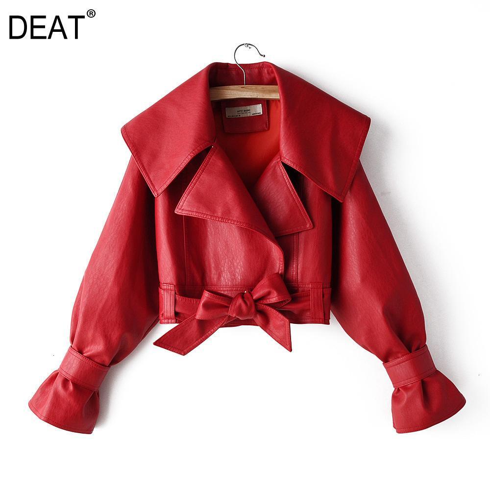 DEAT весна осень Новые продукты Мода Большой отворотом Универсальный Локомотиве Pu Leather Jacket Женский PB051 201007