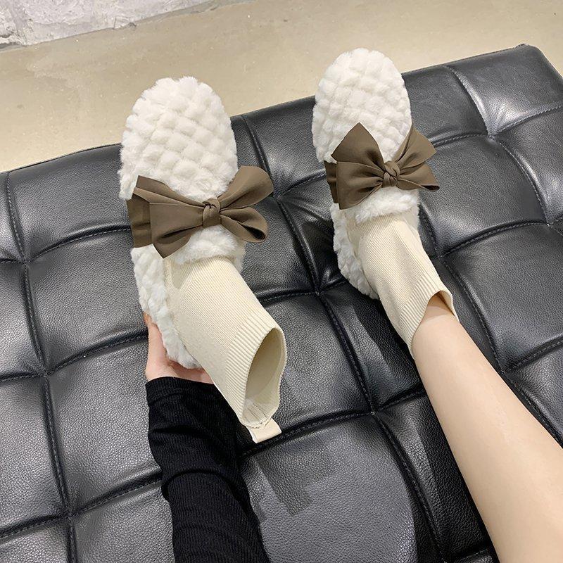 Сладкий Bowknot Женщины снега сапоги зима теплая Flat меховые ботинки женщина лодыжки Носок Ботинки Комфортные Flats Женская обувь