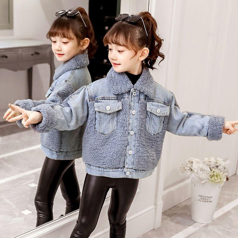 roupas acolchoadas denim correspondência de cores Plush casaco novo estilo de algodão Vestuário infantil inverno das meninas para crianças grandes e mulheres