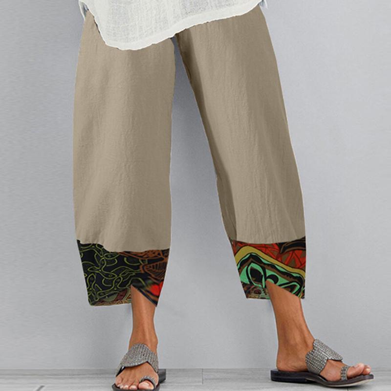 201022 Büyük Boy 5XL Vintage Pamuk Keten Pantolon Yaz Pantolon Kadınlar Casual Elastik Bel Asimetrik Pantalon Sonbahar Kırpılmış Pantolon