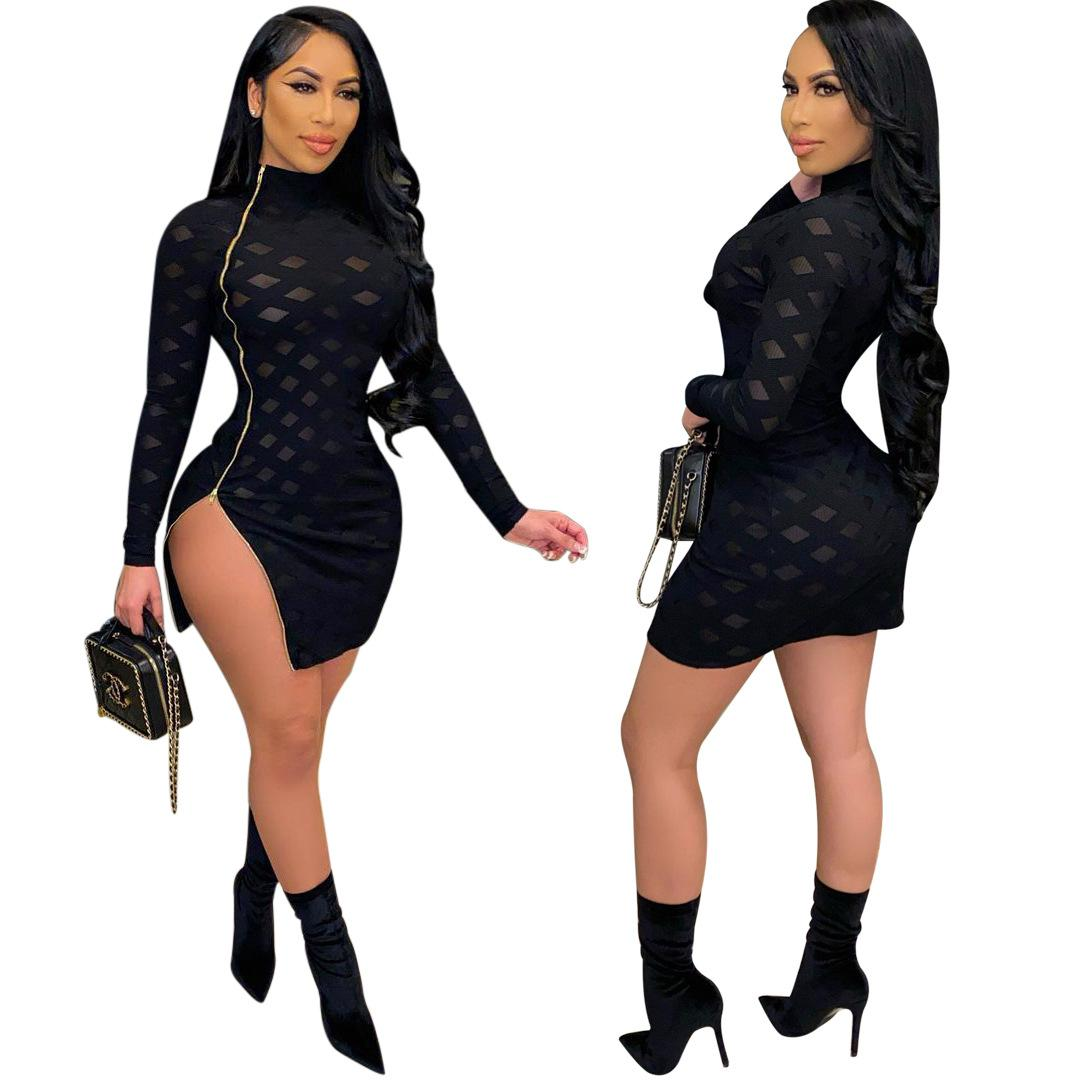 2021 INS Hot Women Black Nightclub Party Dresses See Through Mesh Long Sleeves Side Zipper Split Mini Bodycon Dress Bar Wear