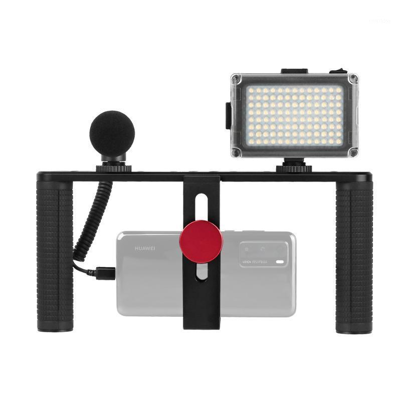 Lighting Studio Acessórios Smartphone Video Rig Rig Kit Telefone Móvel Dual Handle Grip Stabilizer com Microfone LED Light para Filmmaking VLO