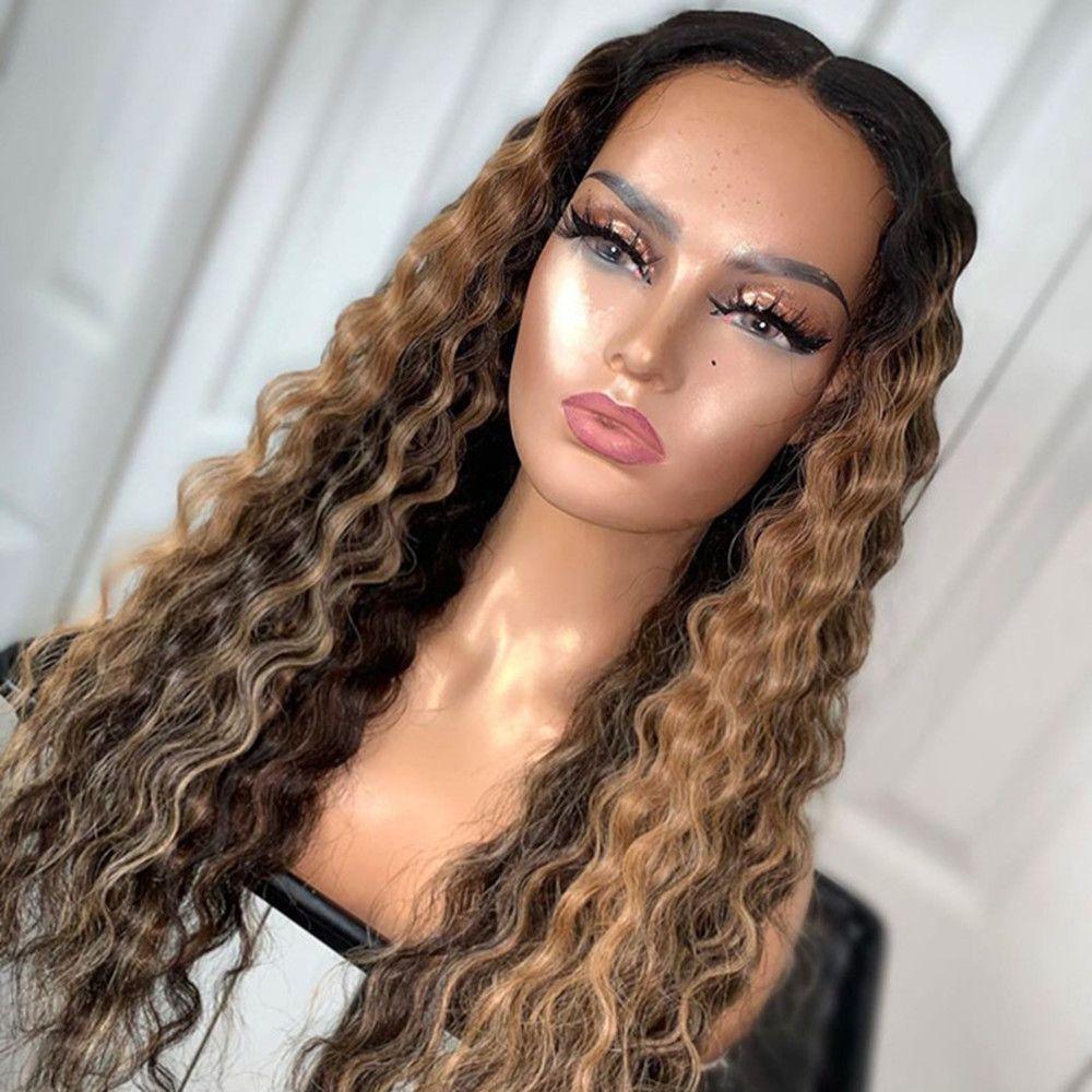 150% Yoğunluk Dantel Ön İnsan Saç Peruk Siyah Kadınlar Için Brezilyalı Bakire Saç 1B / 30 Ombre Öncesi ile Kıvırcık Peruk