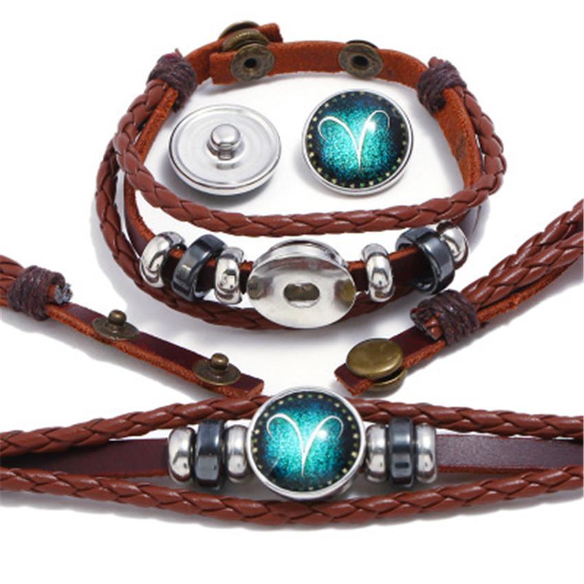 Punk Factory Direct Bouton perlé 12 Constellations Bracelet en cuir de vache à la main à tricoter main Lovers Bijoux en cuir Z